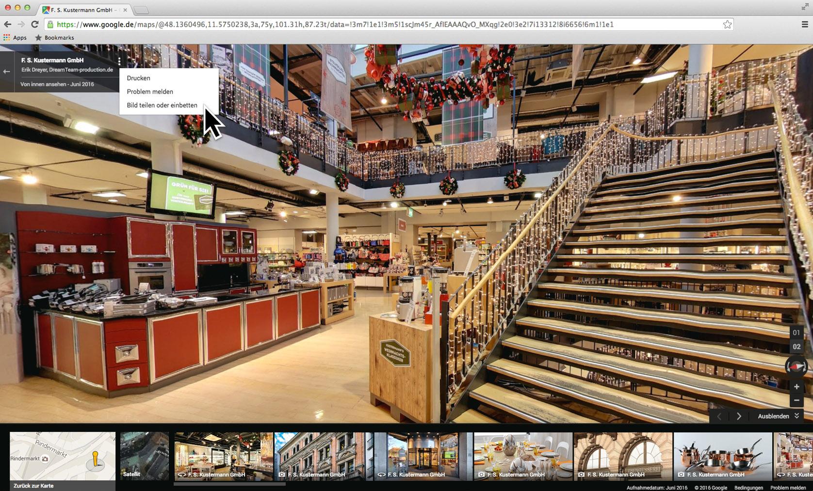 Anleitung: So wird Ihr Google Maps Street View Trusted 360° Rundgang auf Ihrer Webseite eingebettet.